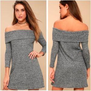 Lulu's Grey Off-the-Shoulder Sweater Dress Gray M